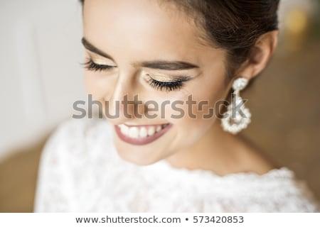Mutlu güzel gelin gülen yakın portre Stok fotoğraf © restyler