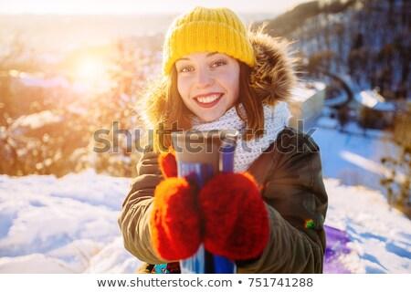 женщину предлагающий горячий напиток кружка Sexy счастливым Сток-фото © Giulio_Fornasar