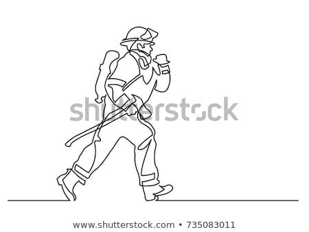 Stockfoto: Tekening · brandweerman · illustratie · witte · brand · achtergrond