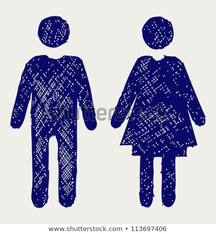Doodle Man and Woman icon. Stock photo © pakete