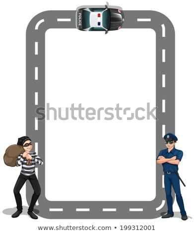 A borderline with a thief and a policeman Stock photo © bluering