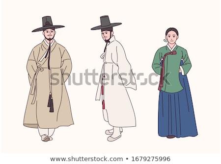 Egyszerű férfiak Ázsia illusztráció fehér háttér Stock fotó © bluering