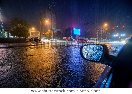 sürücü · yağmur · trafik · sıkışıklığı · araba · ön · cam · ayna - stok fotoğraf © joyr