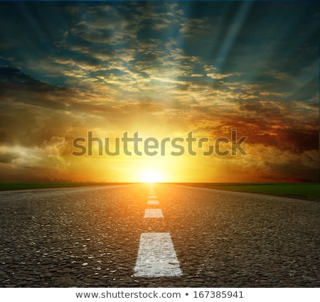 Stock photo: White line and asphalt road as simple urban background pattern