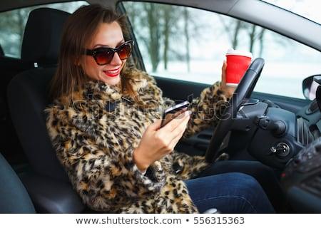 üzletasszony szőrmebunda piros ajkak küldés szöveges üzenet gyönyörű nő Stock fotó © vlad_star