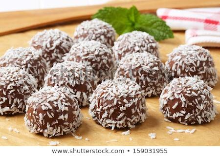 Kókusz fakanál fehér csokoládé cukorka desszert Stock fotó © Digifoodstock