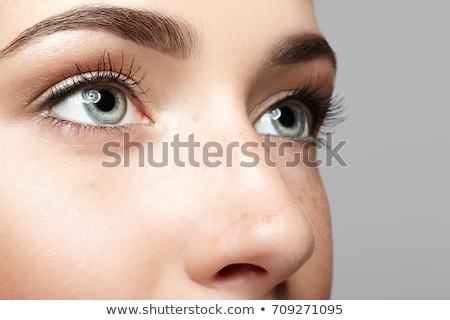 Close up of human female eye and nose on white Stock photo © juniart