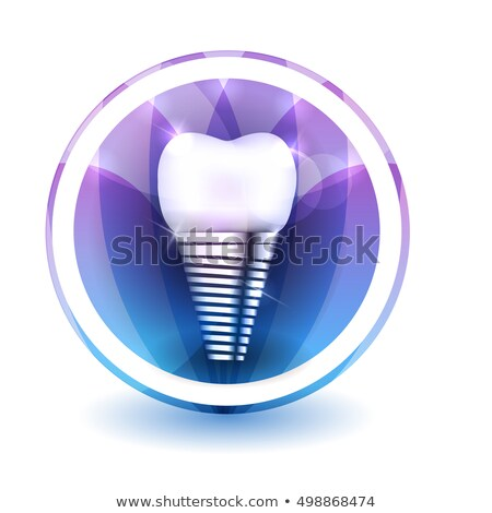 tooth implant sign round shape colorful overlay flower petals a stock photo © tefi
