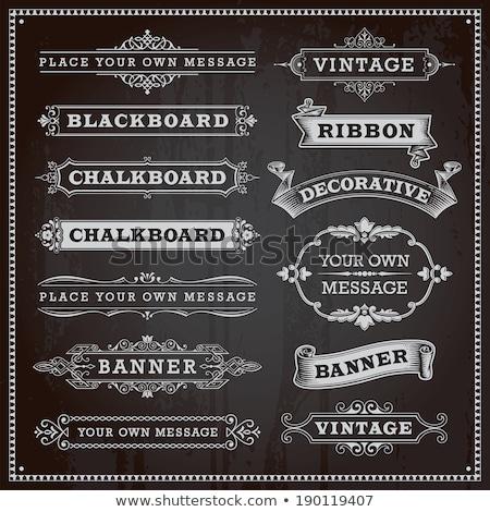 Decoratief hoeken frames schoolbord vector Stockfoto © blue-pen