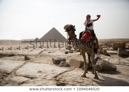 man with mobile phone riding camel in desert stock photo © monkey_business