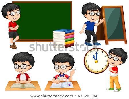 Schoolboy doing different actions at school Stock photo © bluering