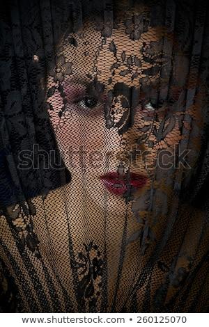 Piękna dziewczyna czarny koronki zasłona piękna Zdjęcia stock © svetography