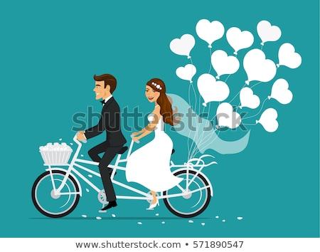 Retro bike with balloons heart isolated on white background. Stock photo © NikoDzhi