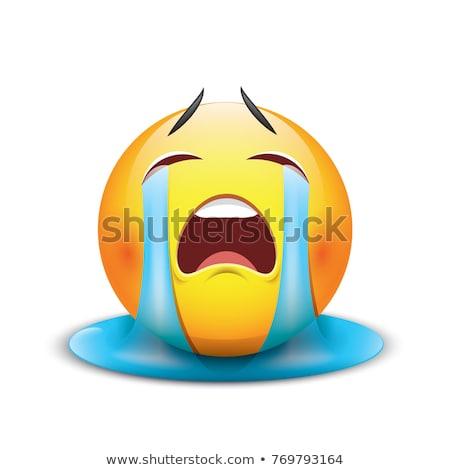 triste · choro · emoticon · rosto · sorridente · pranto - foto stock © rastudio