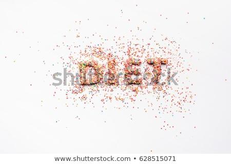 Felső kilátás szó diéta édesség izolált Stock fotó © LightFieldStudios