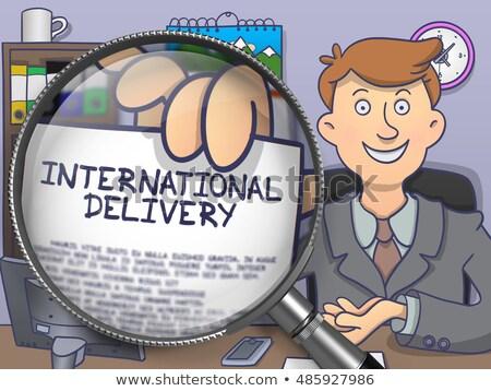 international delivery through lens doodle style stock photo © tashatuvango