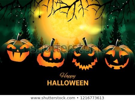 Mutlu halloween mezarlık ay yeşil tatil Stok fotoğraf © articular