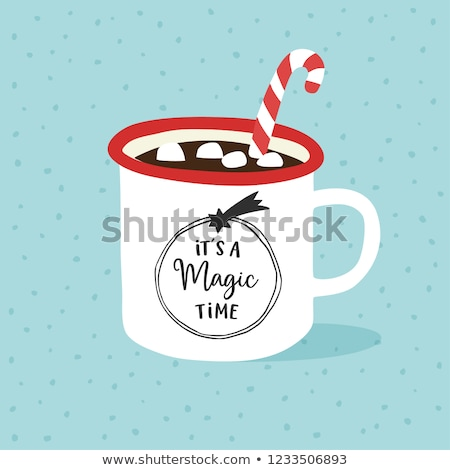 Cocoa with Marshmallows and Candy Canes with Falling Snow Stock photo © StephanieFrey