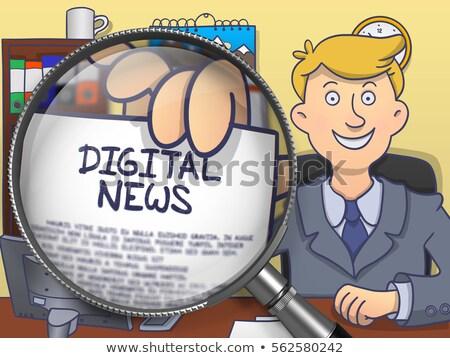 online news through magnifier doodle style stock photo © tashatuvango