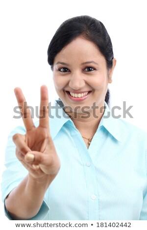 üzletasszony · készít · ujjlenyomatok · tabletta · nő · kéz - stock fotó © feedough