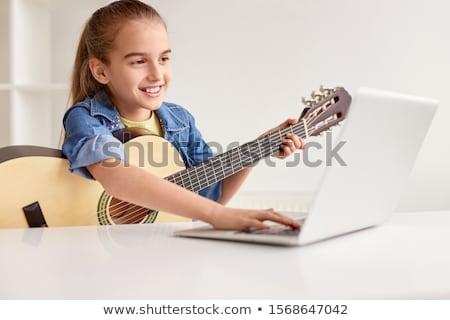 Online tanul fehér fal oktatás modern stílusú Stock fotó © tashatuvango