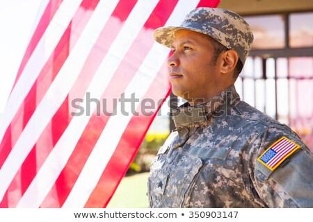 Negyedike amerikai nap katonák katonaság álca Stock fotó © popaukropa