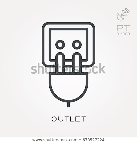 icons of cord and cable with plugs of thin lines vector illustration stock photo © kup1984