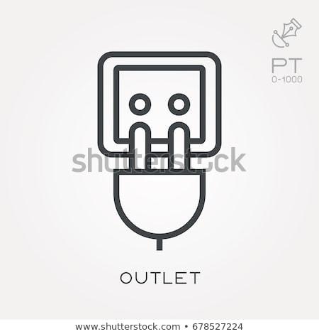 Сток-фото: иконки · шнура · кабеля · тонкий · линия · изолированный