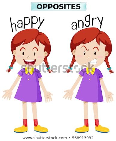 Tegenover woorden boos gelukkig illustratie glimlach Stockfoto © bluering