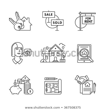 Home kaufen Vertrag line Symbol isoliert Stock foto © RAStudio