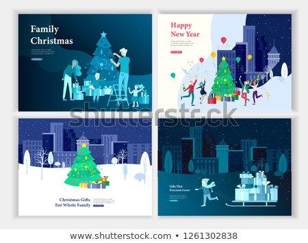Woman dragging Christmas tree at night Stock photo © IS2