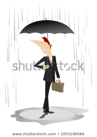 Smiling young man with an umbrella staying under the rain isolated illustration  stock photo © tiKkraf69