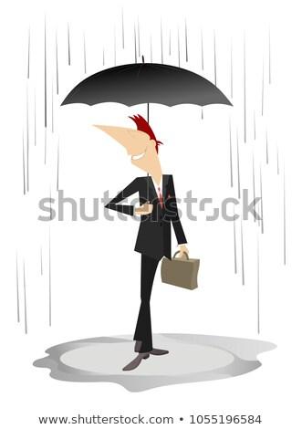 Uśmiechnięty młody człowiek parasol deszcz odizolowany ilustracja Zdjęcia stock © tiKkraf69