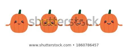 happy orange pumpkin vegetables cartoon emoji character waving stock photo © hittoon