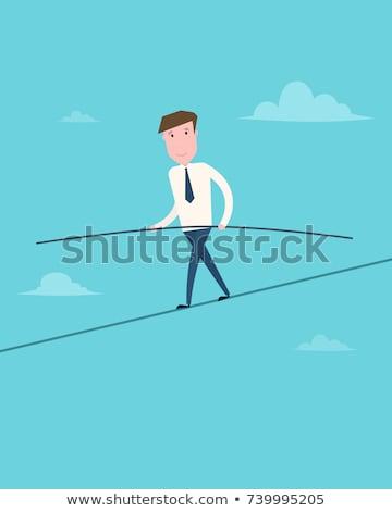 Tightrope Walking On White Background Stock photo © bluering