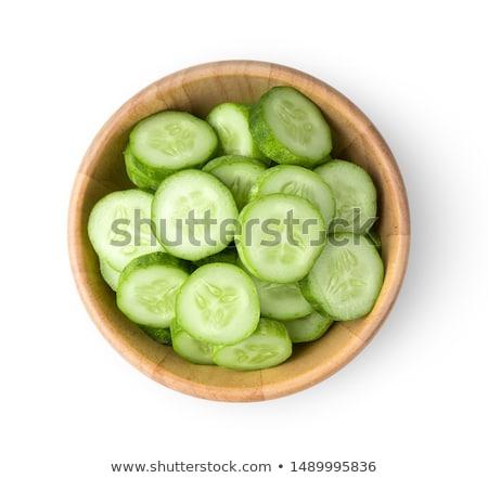 çanak · salatalık · beyaz · yeşil · kesmek - stok fotoğraf © digifoodstock