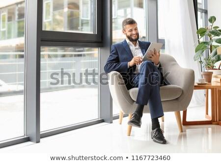 красивый · бизнесмен · костюм · таблетка · молодые · бизнеса - Сток-фото © svetography
