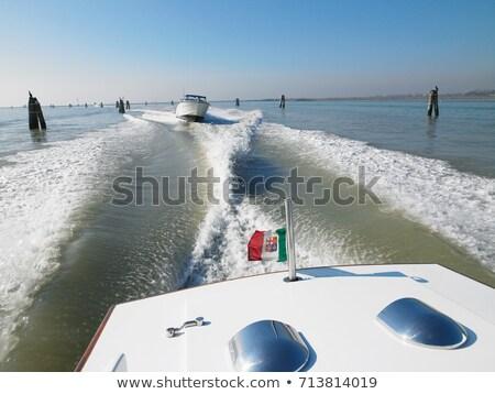 Hátsó nézet víz sáv csónak kék jókedv Stock fotó © IS2