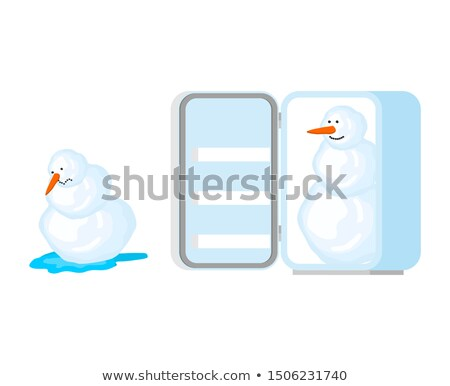 Snowman melts and snowman in fridge. Snow rescue. Spring comes.  Stock photo © MaryValery