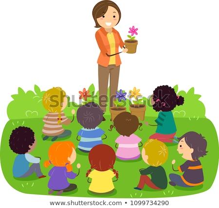 Stickman Kids Teacher Plant Lesson Class Stock photo © lenm