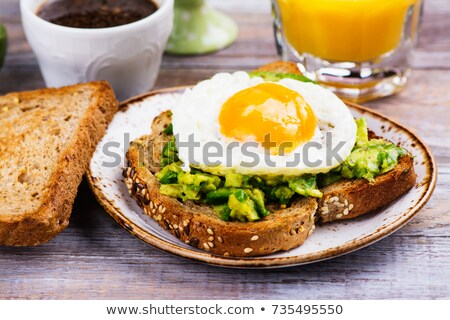 Avocado toast ei diner salade lunch Stockfoto © M-studio