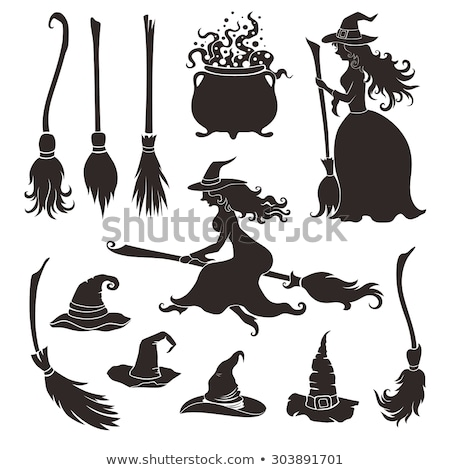 witch on broom in the Halloween night Stock photo © adrenalina