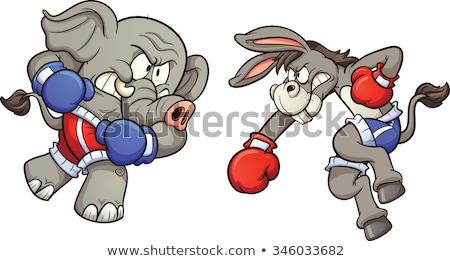 Burro elefante silhueta bandeira americana democrata Foto stock © Krisdog