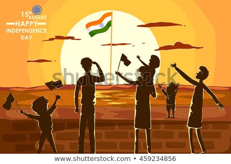 Indian people cheering on tricolor flag background for Happy Independence Day of India Stock photo © vectomart