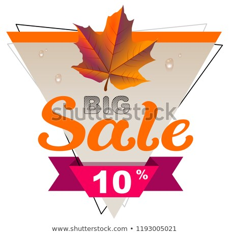 Autumn big sale 10 percent discount coupon. Yellow maple leaf Stock photo © orensila