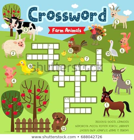 Animais de fazenda palavras cruzadas quebra-cabeça ilustração animais leitura Foto stock © lenm
