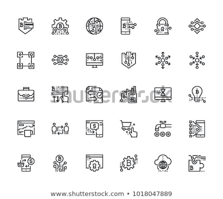 Cryptocurrency and Blockchain Flat Vector Icons Stock photo © smoki