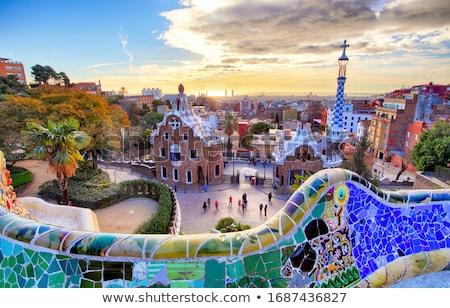 Stock fotó: Park · Barcelona · Spanyolország · égbolt · fa · város