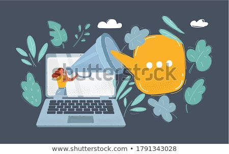 Important Information Banner Vector. Businessman With Megaphone. Loudspeaker. Speech Bubble. Attenti Stock photo © pikepicture