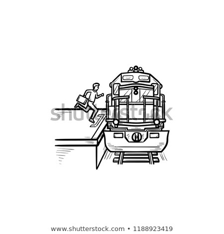 Train station and passenger gets on the train hand drawn outline doodle icon. Stock photo © RAStudio